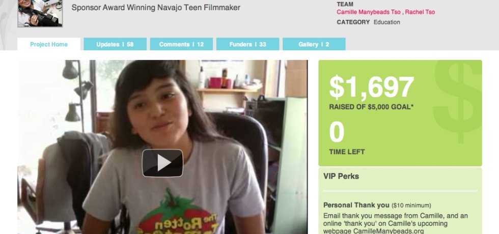 camille crowdfunding to go to film school