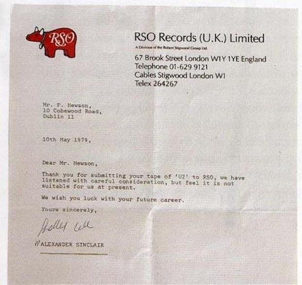U2 rejection letter