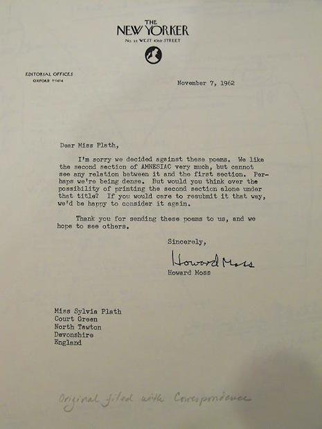 sylvia plath rejection letter