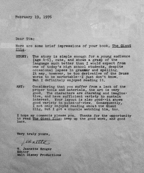 Tim Burton rejection letter