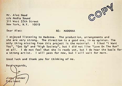 madonna rejection letter